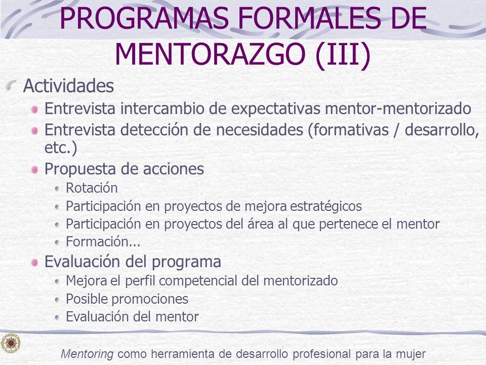 Mentoring como herramienta de desarrollo profesional para la mujer PROGRAMAS FORMALES DE MENTORAZGO (III) Actividades Entrevista intercambio de expect
