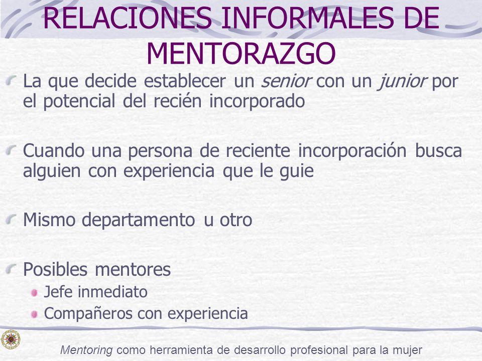 Mentoring como herramienta de desarrollo profesional para la mujer RELACIONES INFORMALES DE MENTORAZGO La que decide establecer un senior con un junio