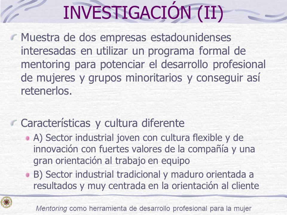 Mentoring como herramienta de desarrollo profesional para la mujer INVESTIGACIÓN (II) Muestra de dos empresas estadounidenses interesadas en utilizar