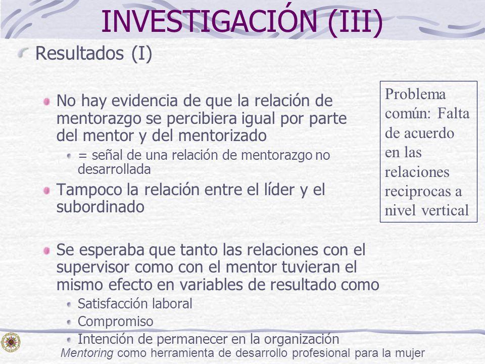 Mentoring como herramienta de desarrollo profesional para la mujer INVESTIGACIÓN (III) Resultados (I) No hay evidencia de que la relación de mentorazg