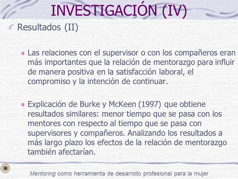 Mentoring como herramienta de desarrollo profesional para la mujer INVESTIGACIÓN (IV) Resultados (II) Las relaciones con el supervisor o con los compa
