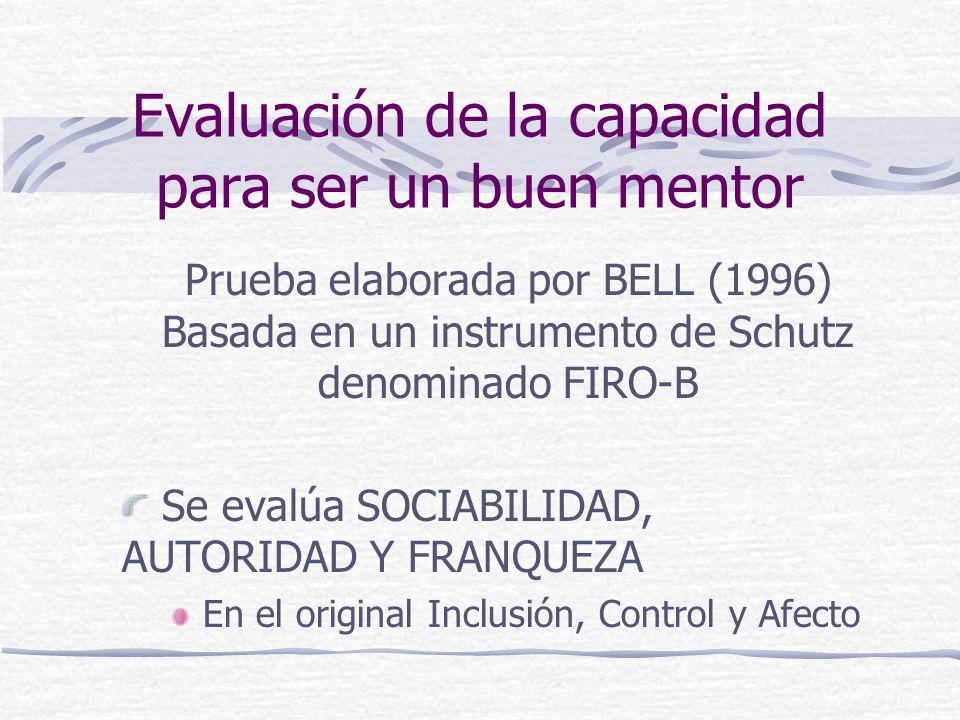 Evaluación de la capacidad para ser un buen mentor Prueba elaborada por BELL (1996) Basada en un instrumento de Schutz denominado FIRO-B Se evalúa SOC