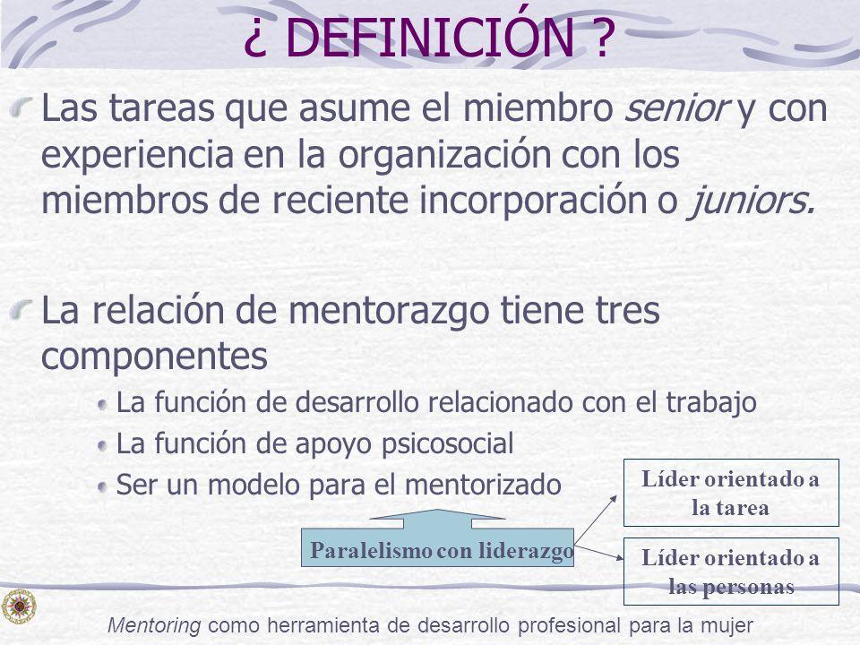 Mentoring como herramienta de desarrollo profesional para la mujer ¿ DEFINICIÓN ? Las tareas que asume el miembro senior y con experiencia en la organ