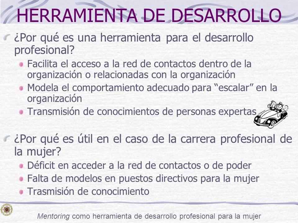 Mentoring como herramienta de desarrollo profesional para la mujer HERRAMIENTA DE DESARROLLO ¿Por qué es una herramienta para el desarrollo profesiona