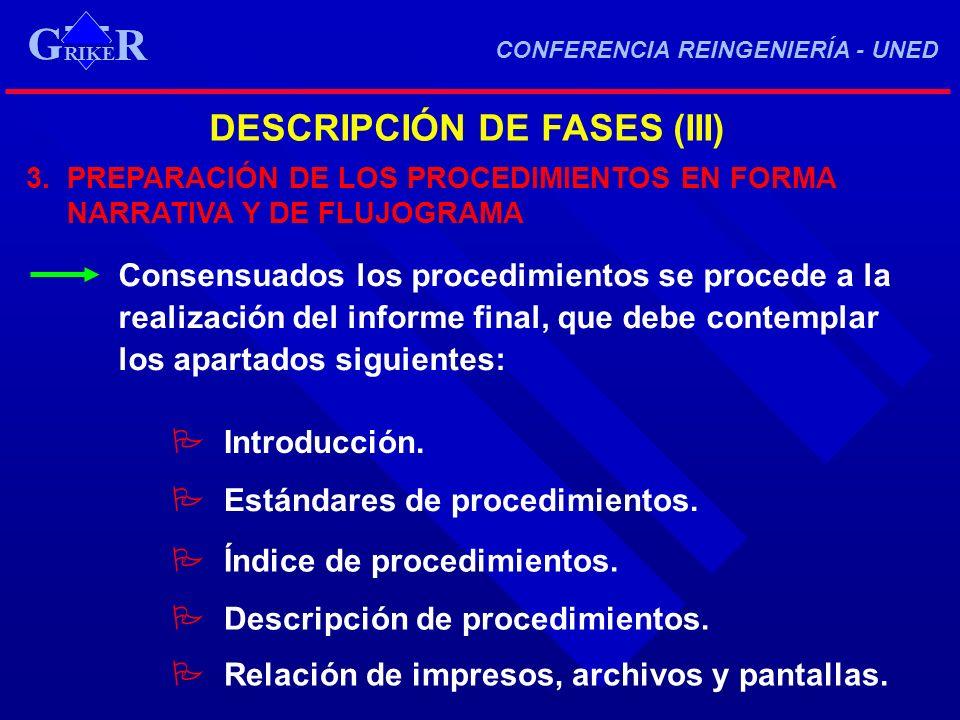 DESCRIPCIÓN DE FASES (III) 3. PREPARACIÓN DE LOS PROCEDIMIENTOS EN FORMA NARRATIVA Y DE FLUJOGRAMA Consensuados los procedimientos se procede a la rea