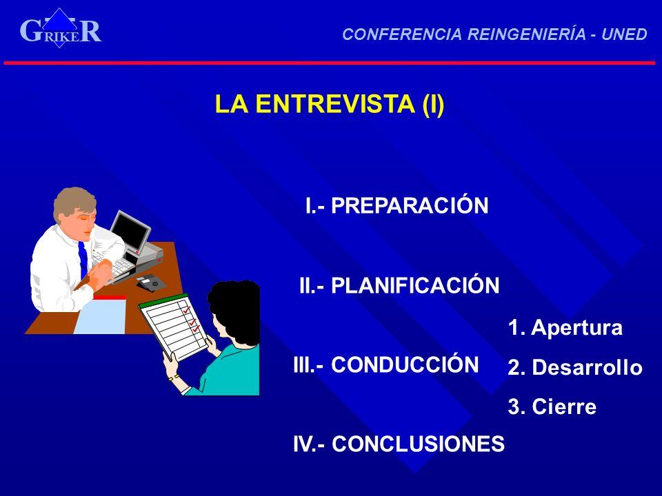 LA ENTREVISTA (I) I.- PREPARACIÓN II.- PLANIFICACIÓN III.- CONDUCCIÓN IV.- CONCLUSIONES 1. Apertura 2. Desarrollo 3. Cierre RIKE R G CONFERENCIA REING