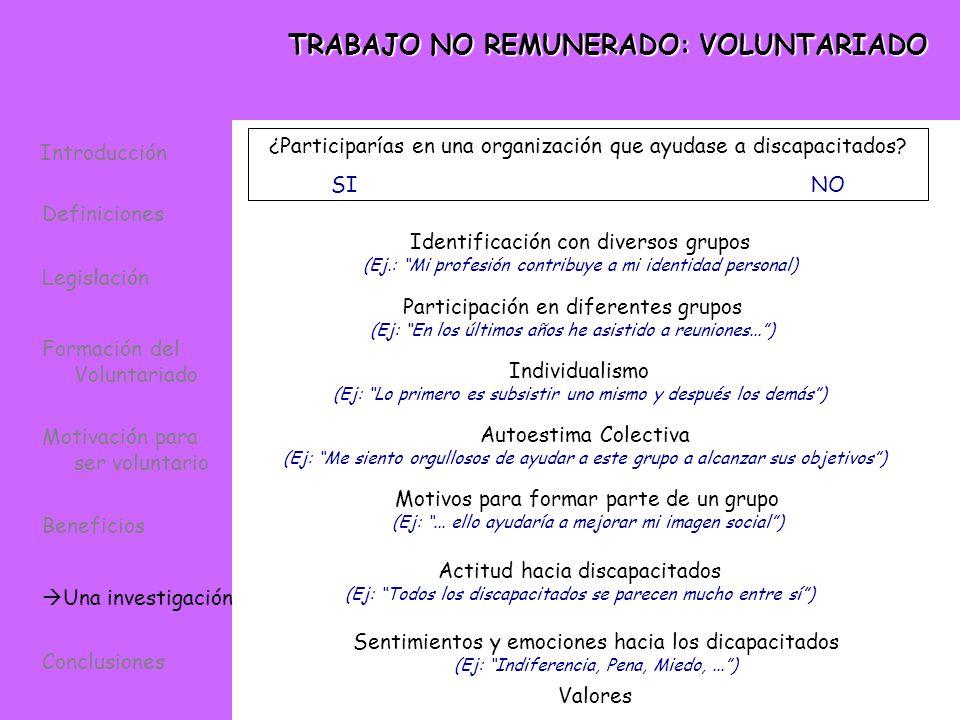 TRABAJO NO REMUNERADO: VOLUNTARIADO Identificación con diversos grupos (Ej.: Mi profesión contribuye a mi identidad personal) Participación en diferen