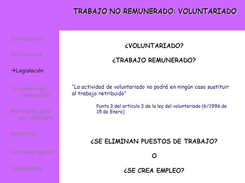 TRABAJO NO REMUNERADO: VOLUNTARIADO La actividad de voluntariado no podrá en ningún caso sustituir al trabajo retribuido Punto 3 del artículo 3 de la