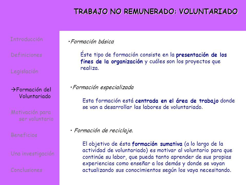 TRABAJO NO REMUNERADO: VOLUNTARIADO Formación básica Éste tipo de formación consiste en la presentación de los fines de la organización y cuáles son l