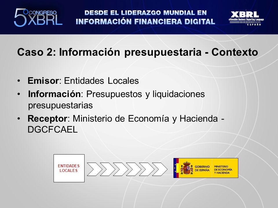 Caso 2: Información presupuestaria - Problemática ENTIDADES LOCALES Adaptación al estándar XBRL de los Sistemas empleados por el receptor (MEH-DGCFCAEL) Inadaptación al estándar XBRL de los Sistemas empleados por el emisor (uso del papel) Orden Ministerial EHA/468/2007