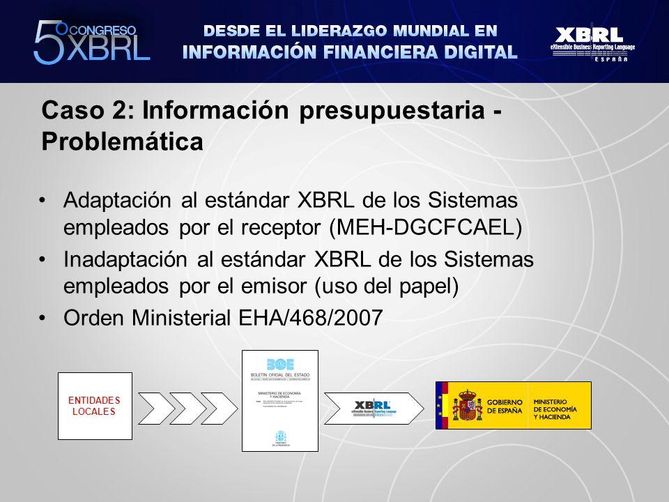 Caso 2: Información presupuestaria - Solución ENTIDADES LOCALES Adaptación al estándar XBRL de los Sistemas empleados por el emisor – API XBRL LENLOC PENLOC (INTECO) Servicios del API: transformación de formatos, validador de instancias XBRL y visor de instancias XBRL