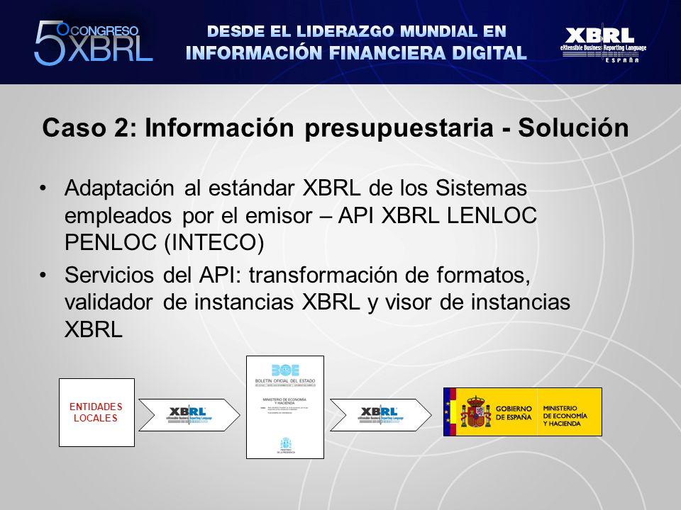 Caso 2: Información presupuestaria - Pasos Construcción del API Prueba piloto del API (Integración en Producto Comercial) Liberación (Soporte INTECO) Integración en Productos Comerciales utilizados por el emisor CONSTRUCCIÓN LIBERACIÓN SOPORTE INTEGRACIÓN