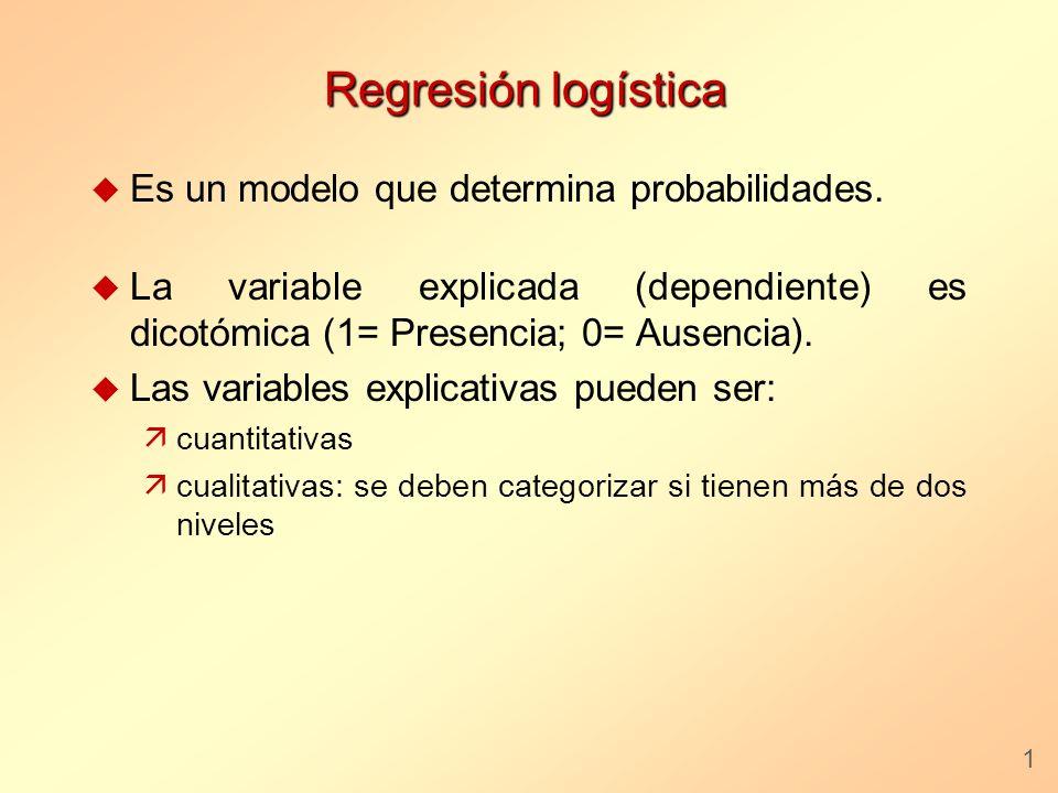 Regresión logística u Es un modelo que determina probabilidades. u La variable explicada (dependiente) es dicotómica (1= Presencia; 0= Ausencia). u La