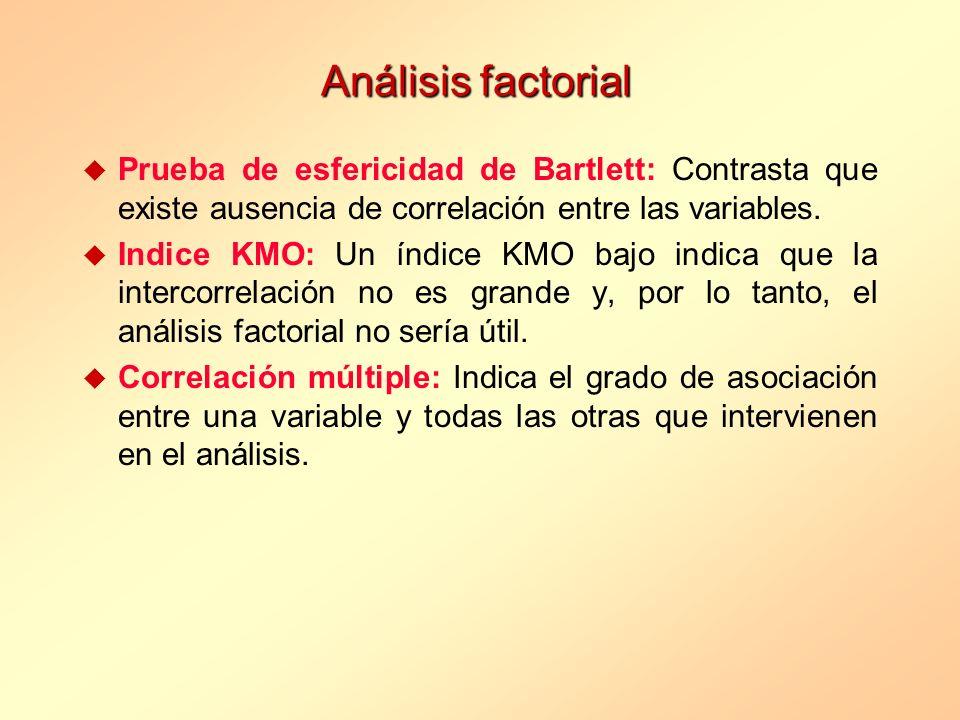 Análisis factorial u Prueba de esfericidad de Bartlett: Contrasta que existe ausencia de correlación entre las variables. u Indice KMO: Un índice KMO