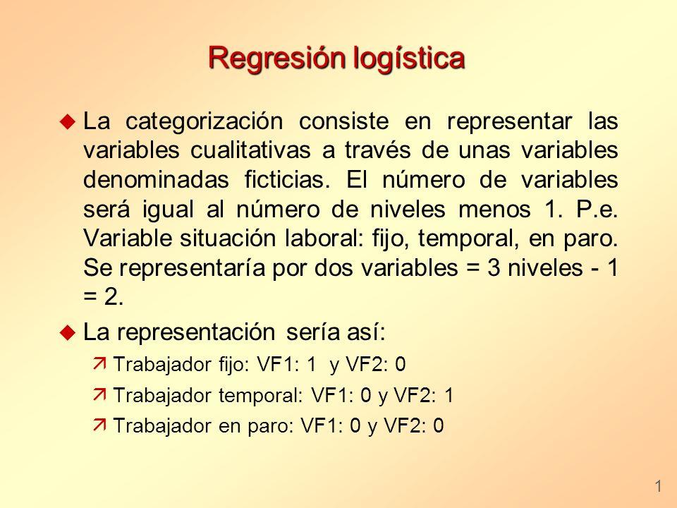 Regresión logística u La categorización consiste en representar las variables cualitativas a través de unas variables denominadas ficticias. El número