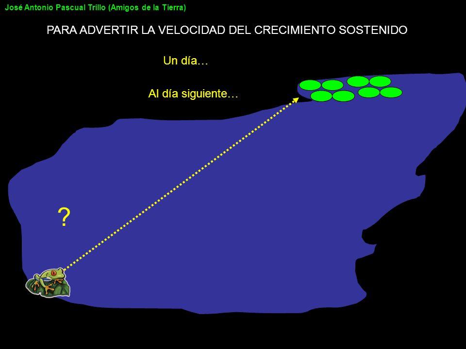 ? Al día siguiente… PARA ADVERTIR LA VELOCIDAD DEL CRECIMIENTO SOSTENIDO Un día… José Antonio Pascual Trillo (Amigos de la Tierra)