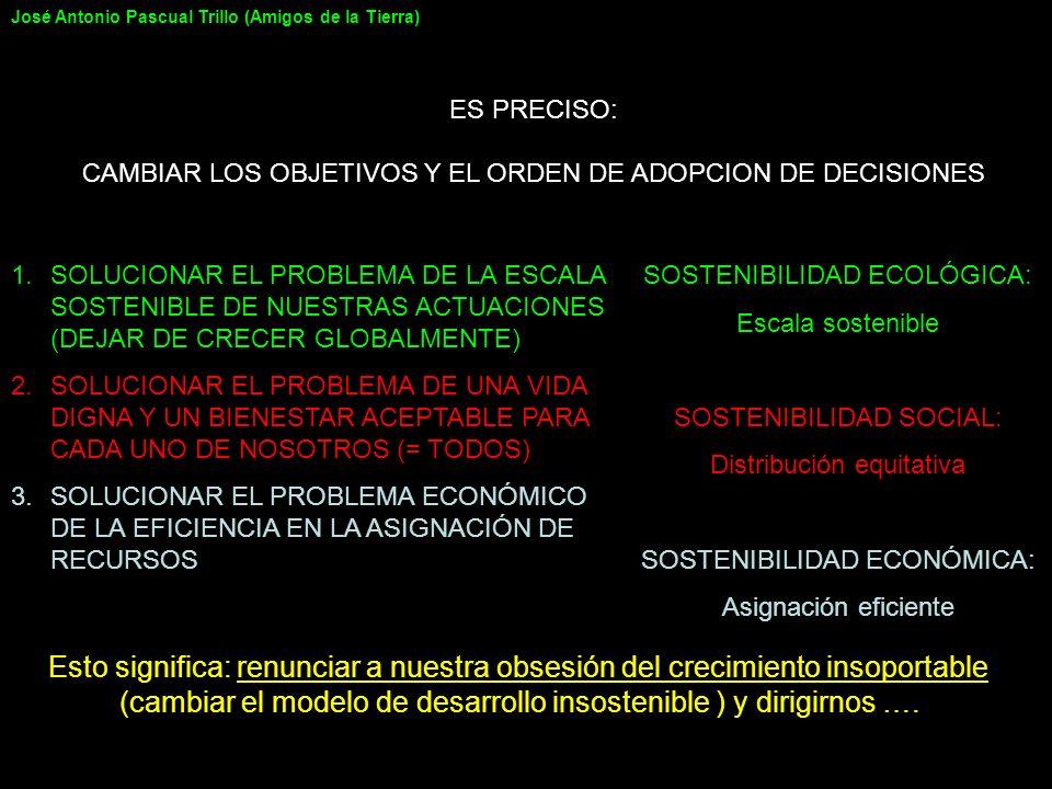 ES PRECISO: CAMBIAR LOS OBJETIVOS Y EL ORDEN DE ADOPCION DE DECISIONES 1.SOLUCIONAR EL PROBLEMA DE LA ESCALA SOSTENIBLE DE NUESTRAS ACTUACIONES (DEJAR