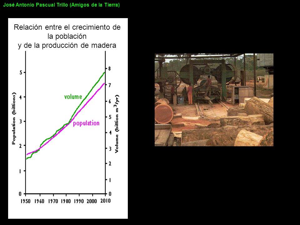 Relación entre el crecimiento de la población y de la producción de madera José Antonio Pascual Trillo (Amigos de la Tierra)