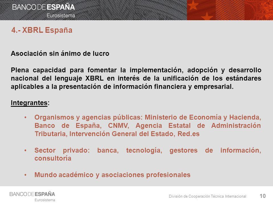 División de Cooperación Técnica Internacional 10 Asociación sin ánimo de lucro Plena capacidad para fomentar la implementación, adopción y desarrollo