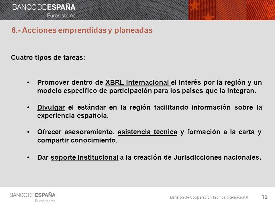 División de Cooperación Técnica Internacional 12 6.- Acciones emprendidas y planeadas Cuatro tipos de tareas: Promover dentro de XBRL Internacional el