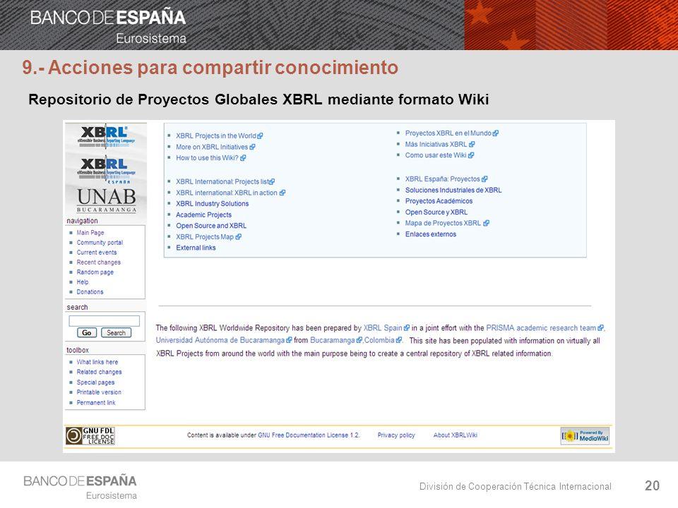 División de Cooperación Técnica Internacional 20 9.- Acciones para compartir conocimiento Repositorio de Proyectos Globales XBRL mediante formato Wiki