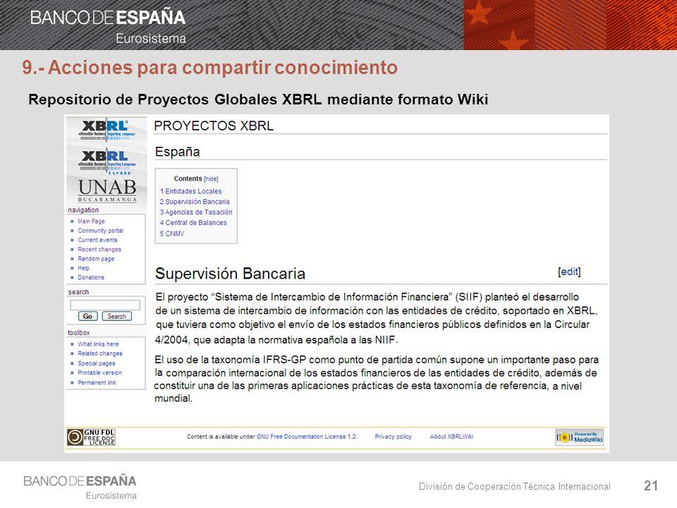 División de Cooperación Técnica Internacional 21 Repositorio de Proyectos Globales XBRL mediante formato Wiki 9.- Acciones para compartir conocimiento