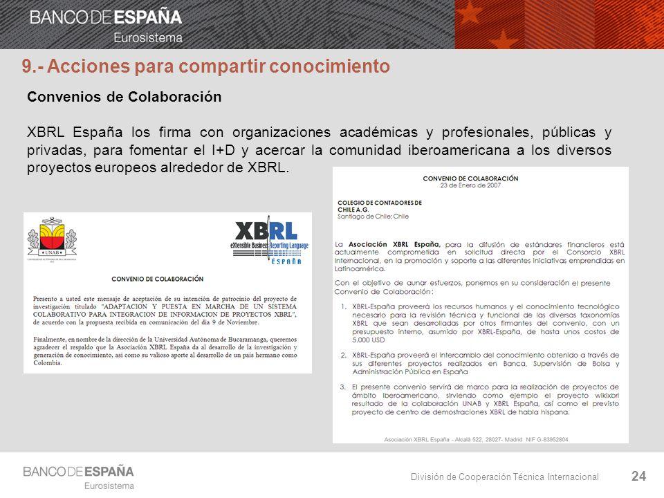 División de Cooperación Técnica Internacional 24 Convenios de Colaboración XBRL España los firma con organizaciones académicas y profesionales, públic