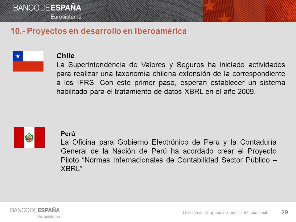 División de Cooperación Técnica Internacional 29 Chile La Superintendencia de Valores y Seguros ha iniciado actividades para realizar una taxonomía ch