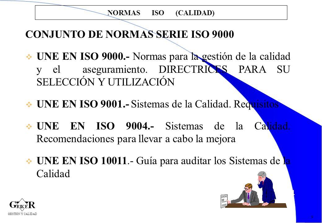 14 NORMAS ISO (CALIDAD) CONJUNTO DE NORMAS SERIE ISO 9000 v UNE EN ISO 9000.- Normas para la gestión de la calidad y el aseguramiento. DIRECTRICES PAR