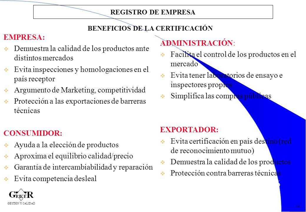 16 REGISTRO DE EMPRESA EMPRESA: v Demuestra la calidad de los productos ante distintos mercados v Evita inspecciones y homologaciones en el país recep