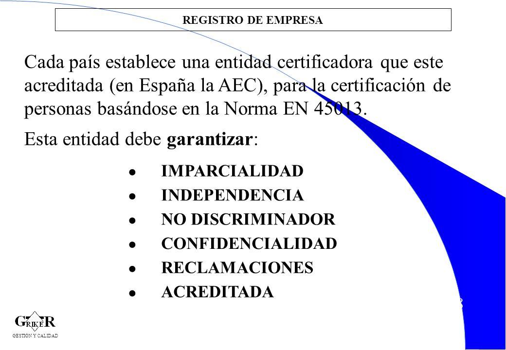 18 Cada país establece una entidad certificadora que este acreditada (en España la AEC), para la certificación de personas basándose en la Norma EN 45