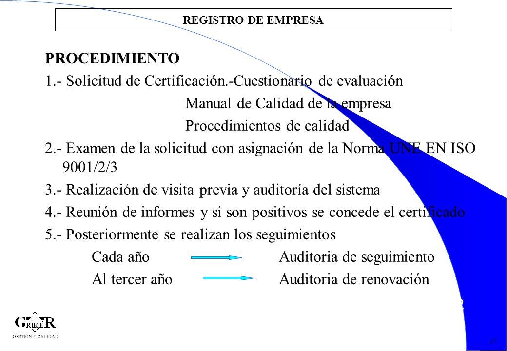 22 REGISTRO DE EMPRESA 17 GESTIÓN Y CALIDAD PROCEDIMIENTO 1.- Solicitud de Certificación.-Cuestionario de evaluación Manual de Calidad de la empresa P