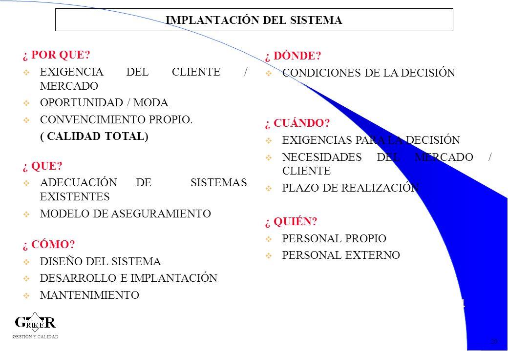 24 IMPLANTACIÓN DEL SISTEMA ¿ POR QUE? v EXIGENCIA DEL CLIENTE / MERCADO v OPORTUNIDAD / MODA v CONVENCIMIENTO PROPIO. ( CALIDAD TOTAL) ¿ QUE? v ADECU