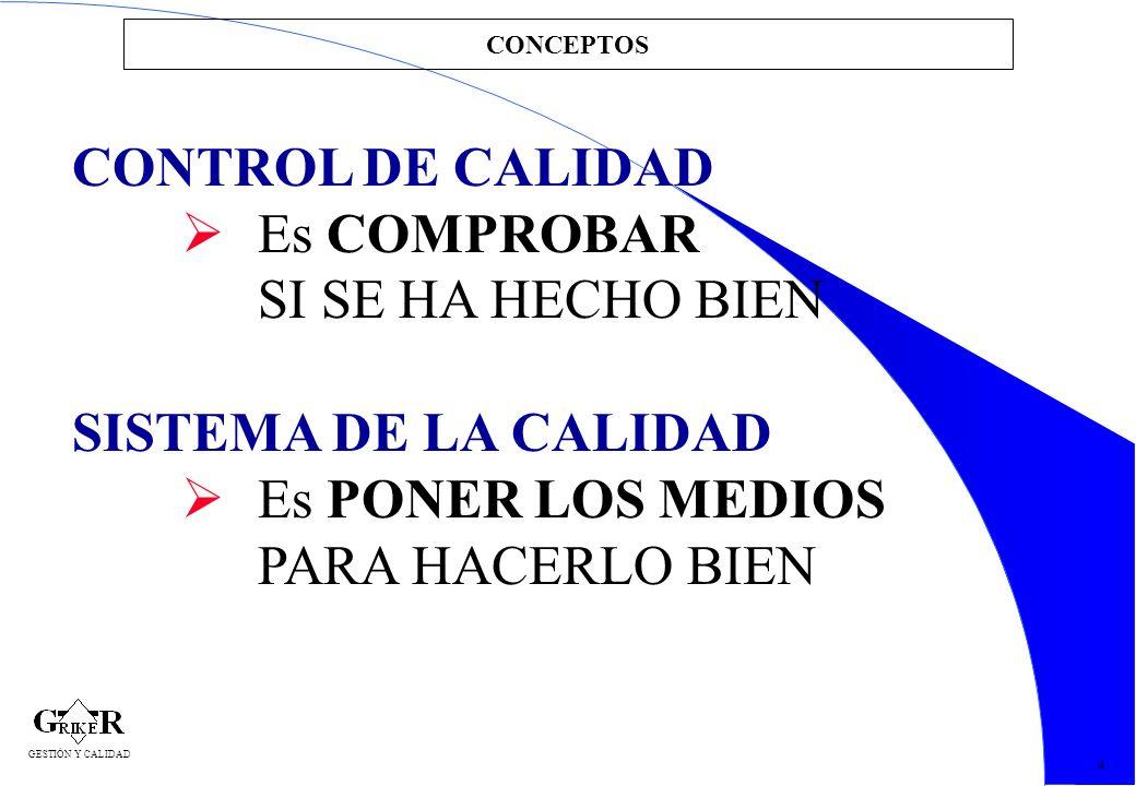 9 CONCEPTOS 4 GESTIÓN Y CALIDAD CONTROL DE CALIDAD Es COMPROBAR SI SE HA HECHO BIEN SISTEMA DE LA CALIDAD Es PONER LOS MEDIOS PARA HACERLO BIEN