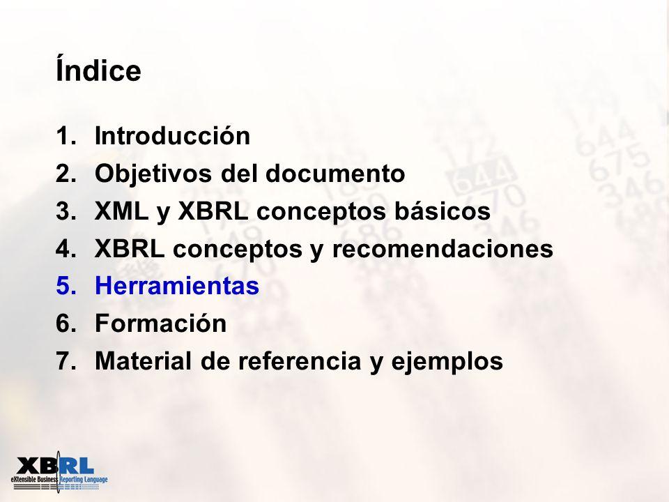 Índice 1.Introducción 2.Objetivos del documento 3.XML y XBRL conceptos básicos 4.XBRL conceptos y recomendaciones 5.Herramientas 6.Formación 7.Materia