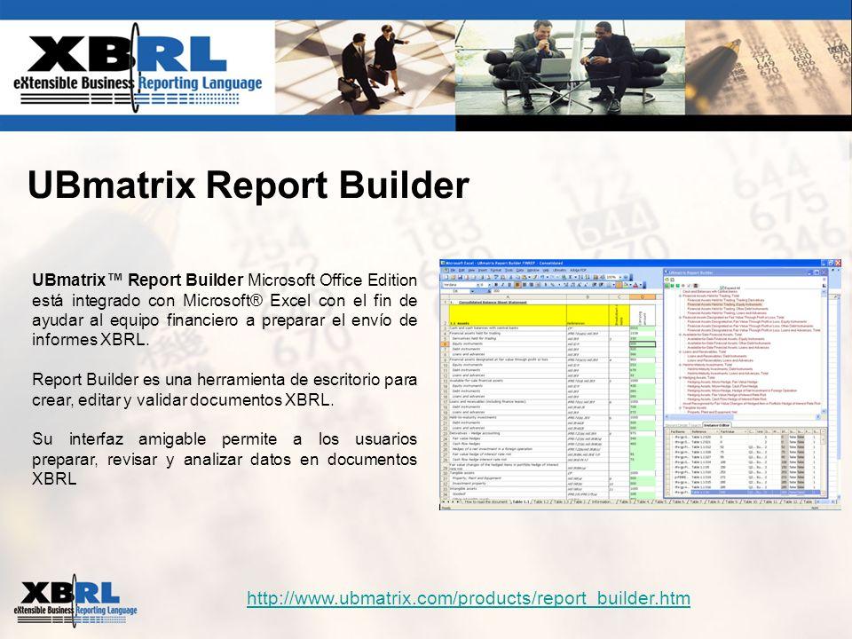 UBmatrix Report Builder UBmatrix Report Builder Microsoft Office Edition está integrado con Microsoft® Excel con el fin de ayudar al equipo financiero