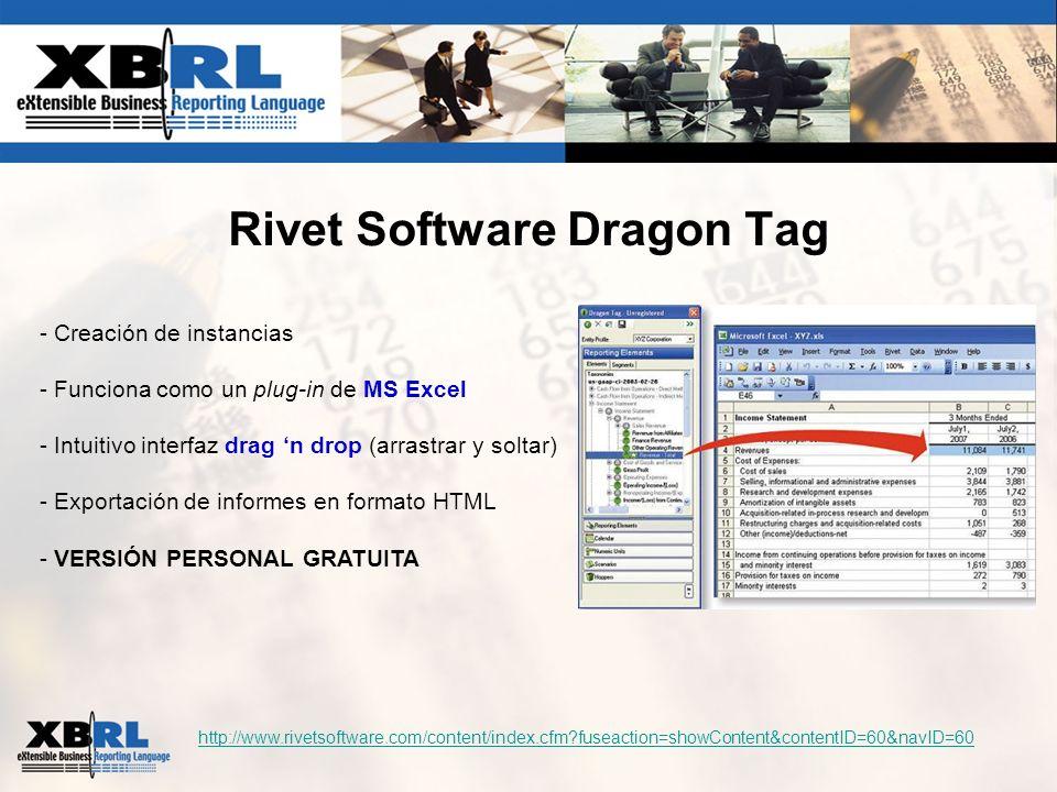 Rivet Software Dragon Tag http://www.rivetsoftware.com/content/index.cfm?fuseaction=showContent&contentID=60&navID=60 - Creación de instancias - Funci