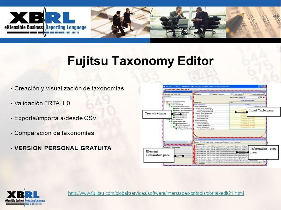 Fujitsu Taxonomy Editor http://www.fujitsu.com/global/services/software/interstage/xbrltools/xbrltaxedit21.html - Creación y visualización de taxonomí