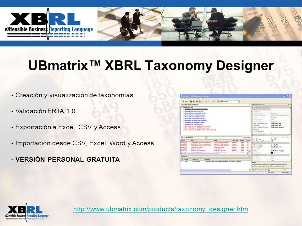 UBmatrix XBRL Taxonomy Designer http://www.ubmatrix.com/products/taxonomy_designer.htm - Creación y visualización de taxonomías - Validación FRTA 1.0