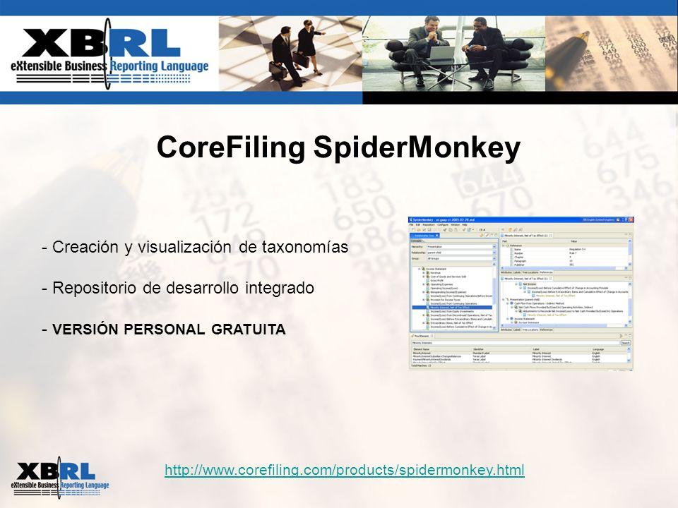 CoreFiling SpiderMonkey http://www.corefiling.com/products/spidermonkey.html - Creación y visualización de taxonomías - Repositorio de desarrollo inte