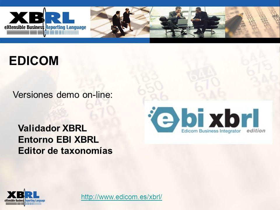 EDICOM Versiones demo on-line: Validador XBRL Entorno EBI XBRL Editor de taxonomías http://www.edicom.es/xbrl/