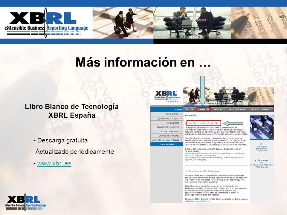 Más información en … Libro Blanco de Tecnología XBRL España - Descarga gratuita -Actualizado periódicamente - www.xbrl.eswww.xbrl.es