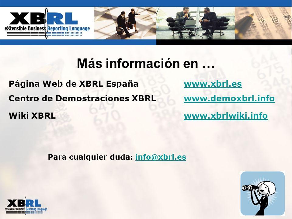 Más información en … Página Web de XBRL Españawww.xbrl.eswww.xbrl.es Centro de Demostraciones XBRLwww.demoxbrl.infowww.demoxbrl.info Wiki XBRLwww.xbrl