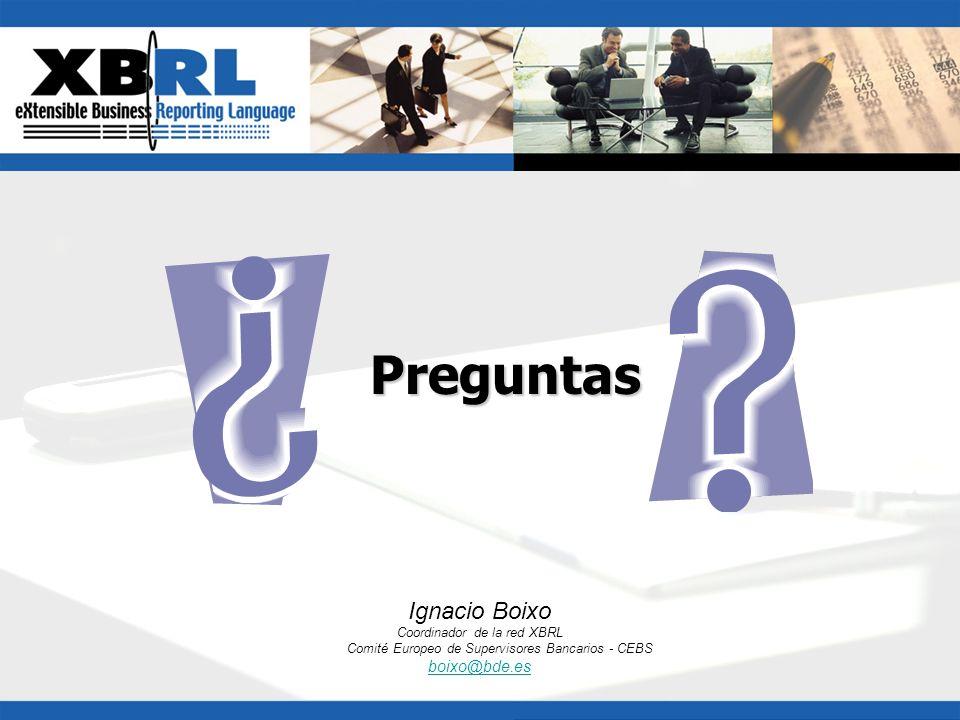 Ignacio Boixo Coordinador de la red XBRL Comité Europeo de Supervisores Bancarios - CEBS boixo@bde.esPreguntas