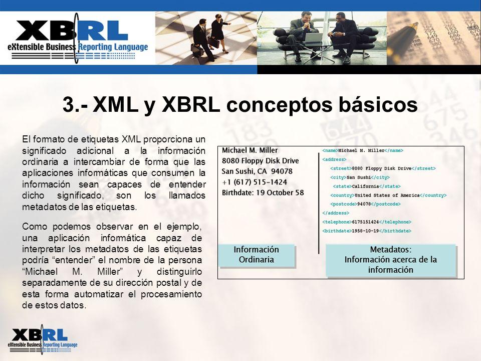 3.- XML y XBRL conceptos básicos El formato de etiquetas XML proporciona un significado adicional a la información ordinaria a intercambiar de forma q