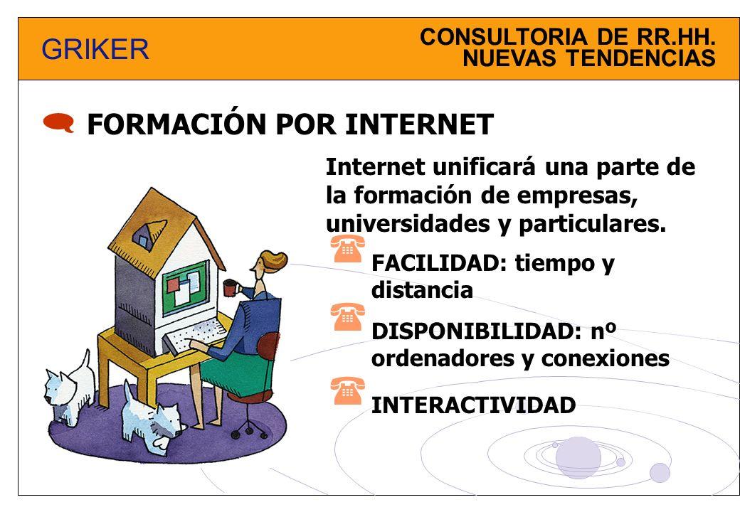 CONSULTORIA DE RR.HH. NUEVAS TENDENCIAS GRIKER FORMACIÓN POR INTERNET FACILIDAD: tiempo y distancia Internet unificará una parte de la formación de em