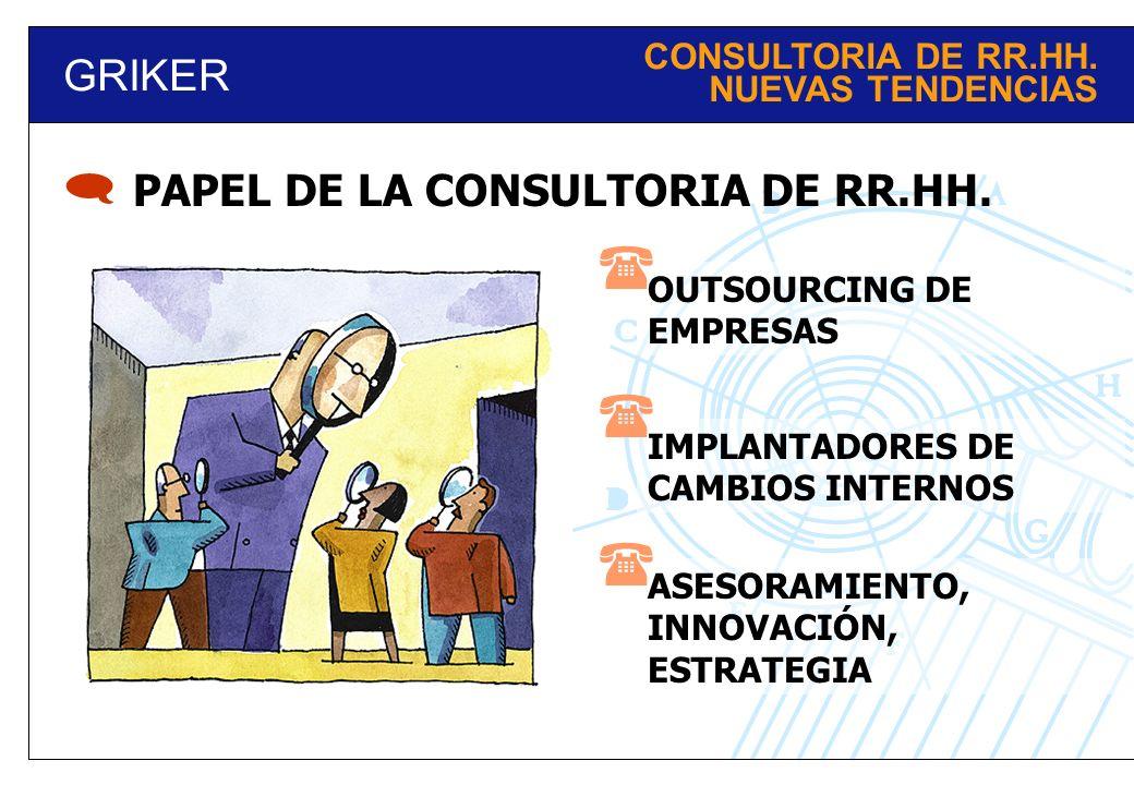 GRIKER OUTSOURCING DE EMPRESAS PAPEL DE LA CONSULTORIA DE RR.HH. IMPLANTADORES DE CAMBIOS INTERNOS ASESORAMIENTO, INNOVACIÓN, ESTRATEGIA CONSULTORIA D