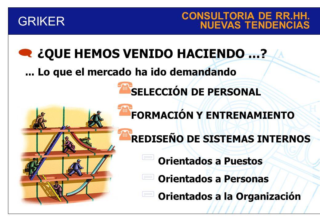 GRIKER CONSULTORIA DE RR.HH.NUEVAS TENDENCIAS ¿QUE HEMOS VENIDO HACIENDO....