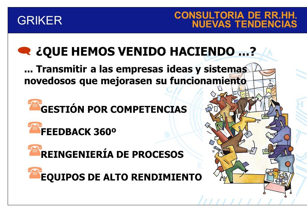 GRIKER CONSULTORIA DE RR.HH. NUEVAS TENDENCIAS ¿QUE HEMOS VENIDO HACIENDO...? GESTIÓN POR COMPETENCIAS FEEDBACK 360º REINGENIERÍA DE PROCESOS EQUIPOS