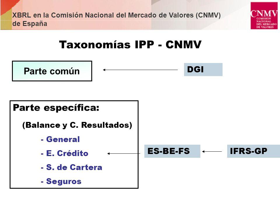 Parte común Taxonomías IPP - CNMV DGI Parte específica: (Balance y C. Resultados) - General - E. Crédito - S. de Cartera - Seguros ES-BE-FSIFRS-GP XBR